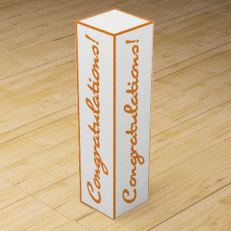 Congratulations Celebration Orange White Gift Box