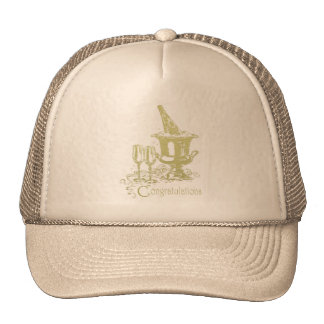 Congratulations Champagne and Glasses Art Mesh Hat