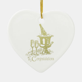 Congratulations Champagne Art Ceramic Heart Decoration
