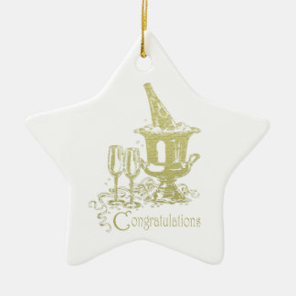 Congratulations Champagne Art Christmas Ornament