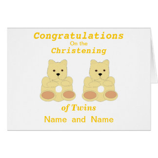 Congratulations Christening Twins add names Card