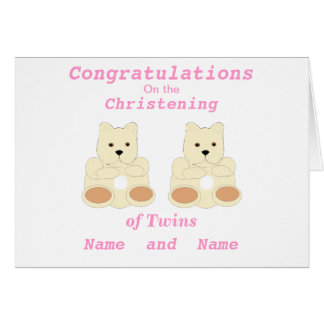 Congratulations Christening Twins add names front Greeting Card