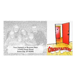 congratulations comic door custom photo card