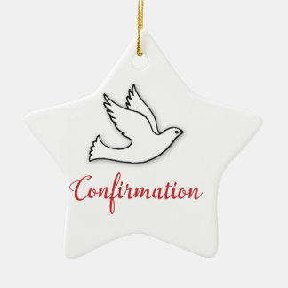Congratulations Confirmation Dove with Gold, Red Ceramic Star Decoration