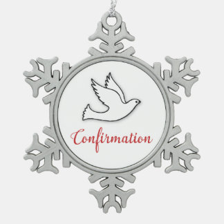 Congratulations Confirmation Dove with Gold, Red Pewter Snowflake Decoration