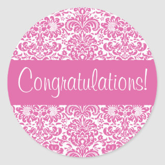 Congratulations Damask Envelope Seal Round Sticker