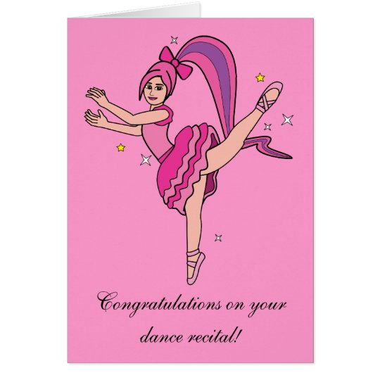 Congratulations Dance Recital Ballerina with Bow Card