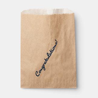 Congratulations Dark Blue Casual Script Favour Bags
