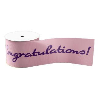 Congratulations Dark Purple Casual Script Grosgrain Ribbon