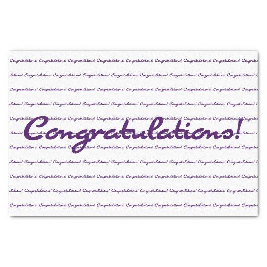 Congratulations! Dark Purple Casual Script Tissue Paper