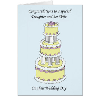 Congratulations Daughter and Wife on wedding day Greeting Card
