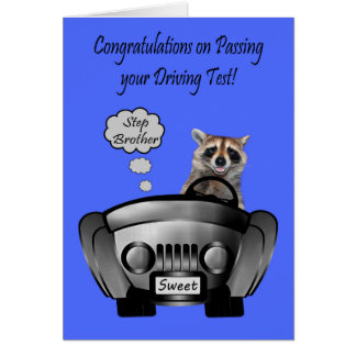 Congratulations, Driving Test, Step Brother Greeting Card