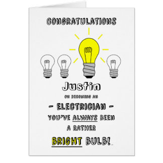 Congratulations Electrician, Future is Bright Card