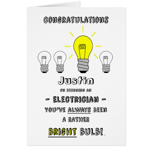 Congratulations Electrician, Future is Bright Greeting Card
