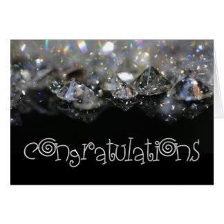 Congratulations Elegant Black White Shiny Diamonds Card