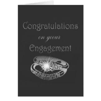 Congratulations Engagement Rings Art Greeting Card