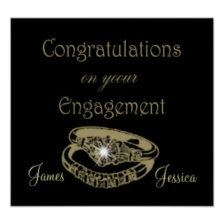 Congratulations Engagement Rings Customisable Post Poster