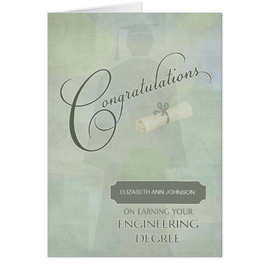 Congratulations Engineering Degree Graduate w-name Card