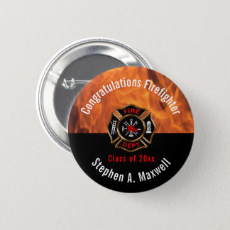 Congratulations Firefighter Flames Class | Name 6 Cm Round Badge