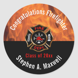 Congratulations Firefighter Flames Class | Name Classic Round Sticker