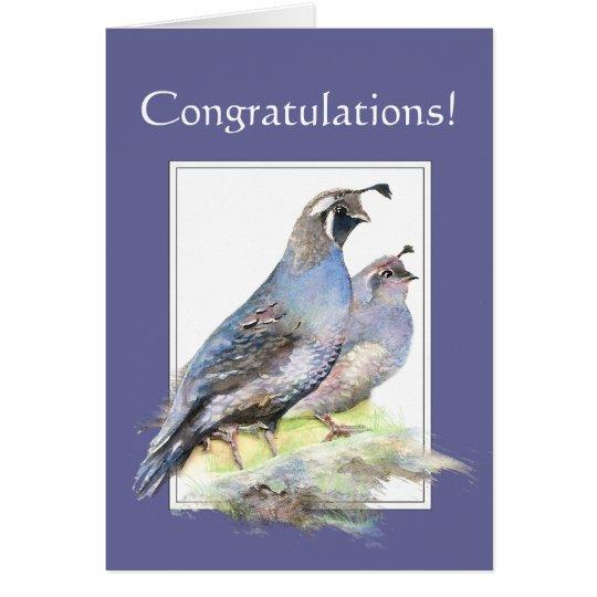 Congratulations for Couple California Quail Birds Card