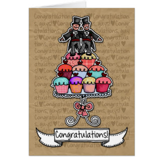 Congratulations - Gay Wedding Couple cupcakes Card