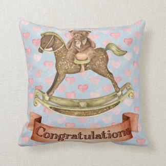 Congratulations-Girl-Baby Shower Throw Pillow