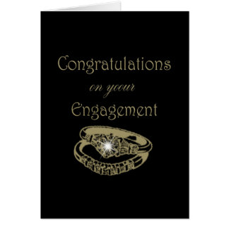 Congratulations Gold Engagement Rings Card