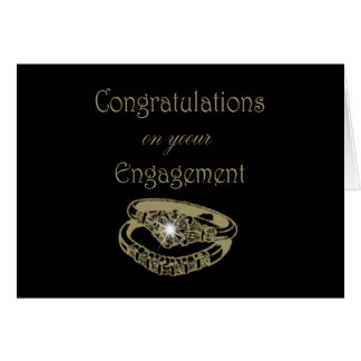 Congratulations Gold Engagement Rings Greeting Card