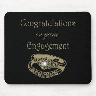 Congratulations Gold Engagement Rings Mouse Pads