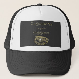 Congratulations Gold Engagement Rings Trucker Hat