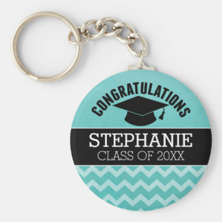 Congratulations Graduate - Aqua Black Graduation Basic Round Button Key Ring