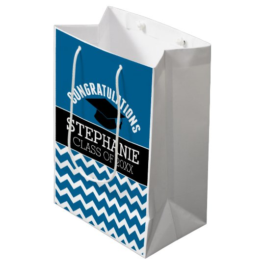 Congratulations Graduate - Blue Black Graduation Medium Gift Bag