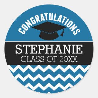 Congratulations Graduate - Blue Black Graduation Round Sticker