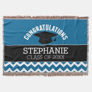 Congratulations Graduate - Blue Black Graduation Throw Blanket