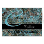 Congratulations Graduate Bold Turquoise and Brown Greeting Card