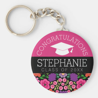 Congratulations Graduate Girly Flowers Graduation Basic Round Button Key Ring