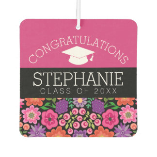 Congratulations Graduate Girly Flowers Graduation Car Air Freshener