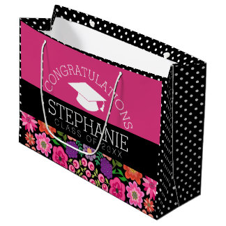 Congratulations Graduate Girly Flowers Graduation Large Gift Bag