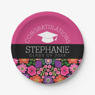 Congratulations Graduate Girly Flowers Graduation Paper Plate
