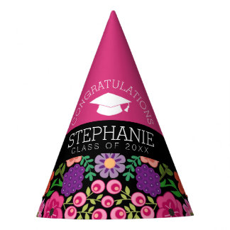 Congratulations Graduate Girly Flowers Graduation Party Hat