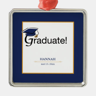 Congratulations Graduate, Hat, Tassel, Blue, Gold Christmas Ornament