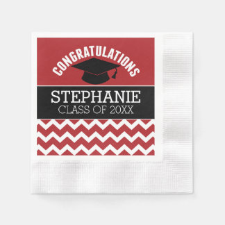 Congratulations Graduate - Red Black Graduation Disposable Serviette