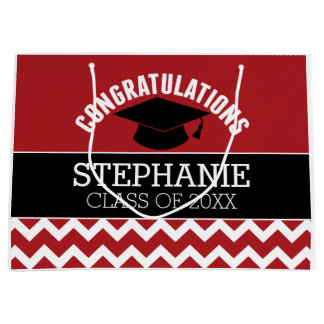 Congratulations Graduate - Red Black Graduation Large Gift Bag