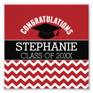 Congratulations Graduate - Red Black Graduation Photographic Print