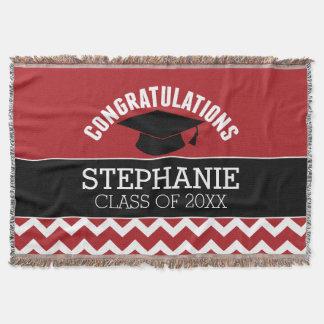 Congratulations Graduate - Red Black Graduation Throw Blanket