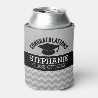 Congratulations Graduate - Silver Black Graduation Can Cooler