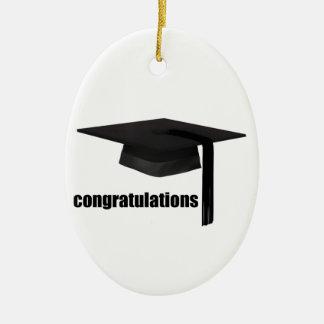 Congratulations Graduation Cap Ceramic Oval Decoration