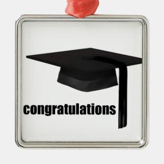 Congratulations Graduation Cap Silver-Colored Square Decoration