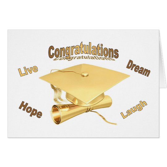 Congratulations Graduation Card gold cap diploma